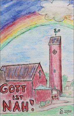 Bugenhagenkirche, Corona-Regenbogen, gemalt von Gabriele Sölter, April 2020